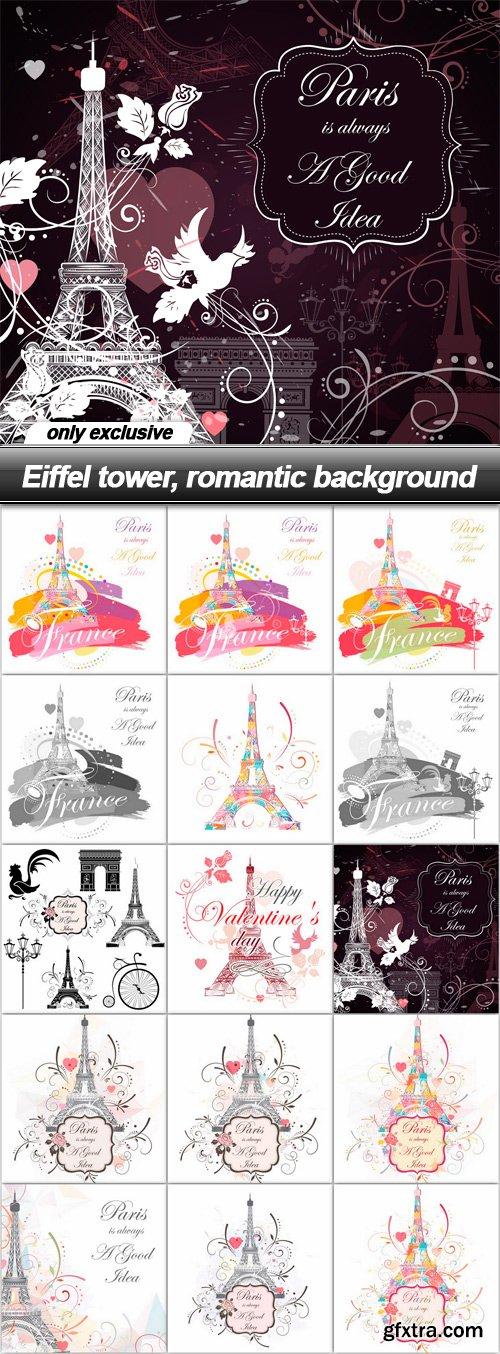Eiffel tower, romantic background - 15 EPS