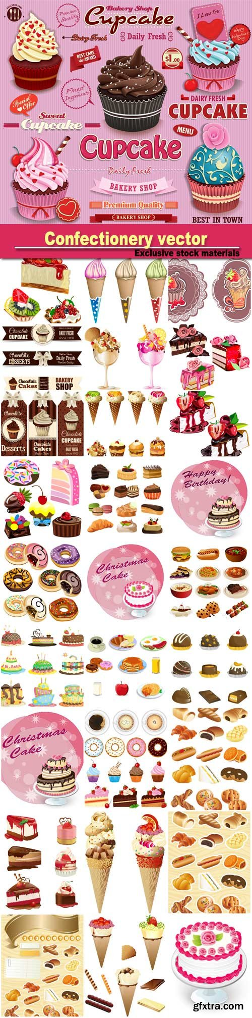 Confectionery vector, muffins, cakes and cake, ice cream