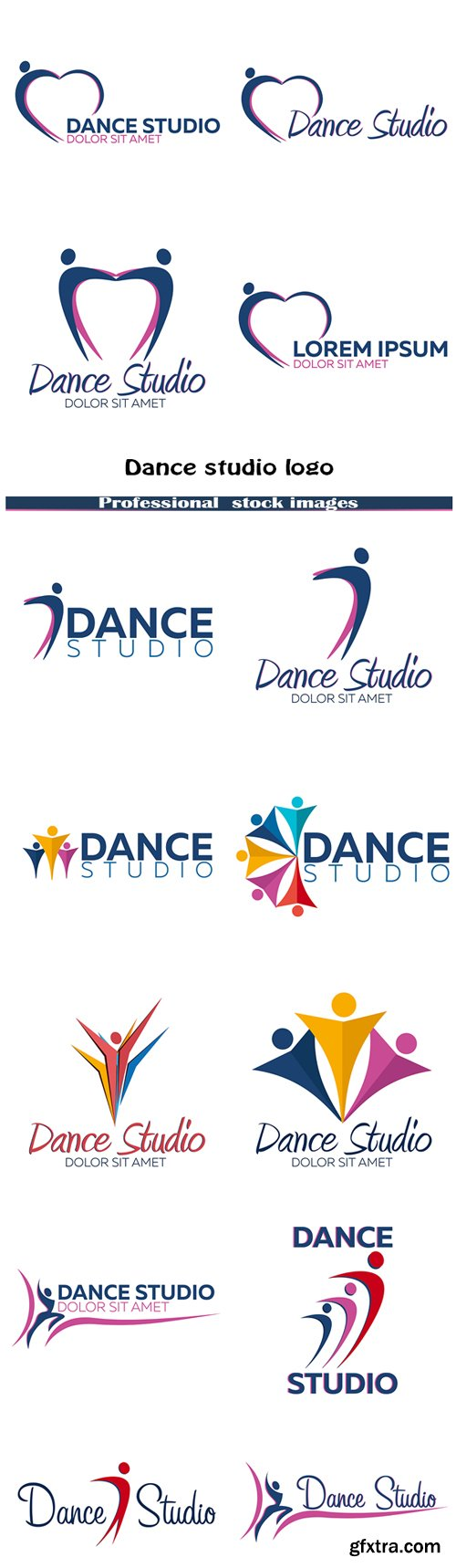 Dance Studio Logos 14xEPS