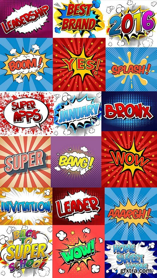 Comics Book Style - Words - 25xEPS, AI