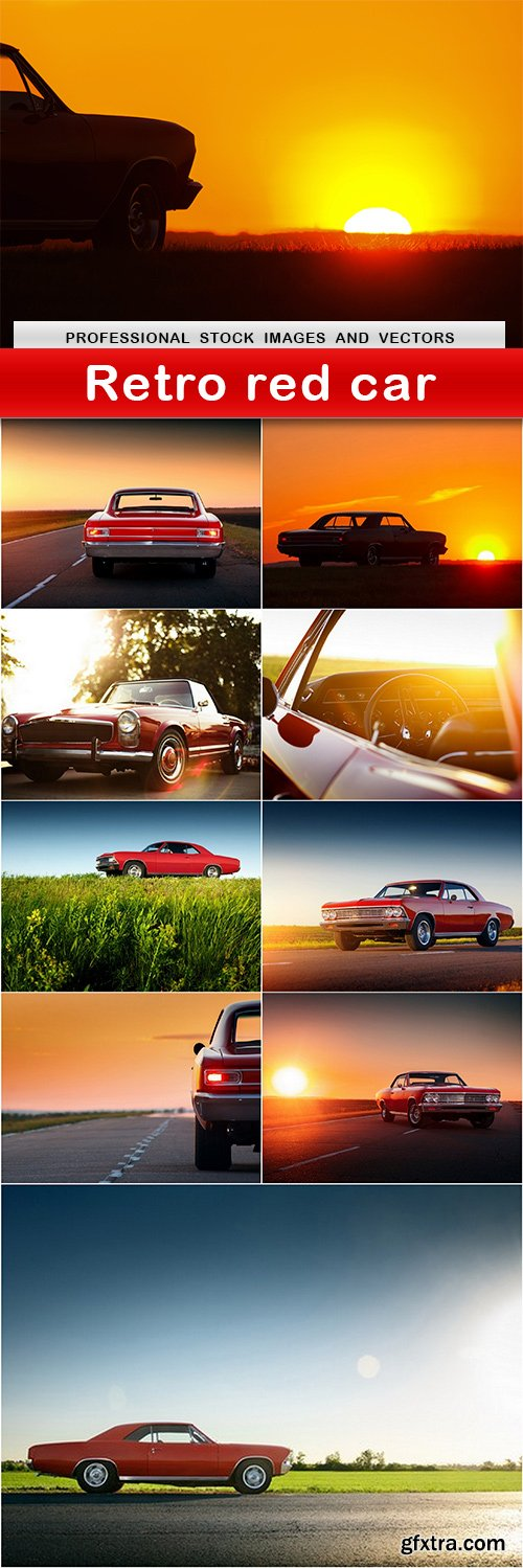 Retro red car - 10 UHQ JPEG