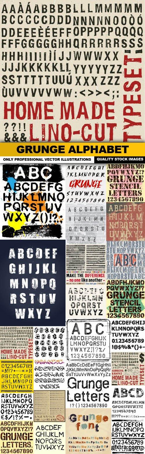 Grunge Alphabet - 25 Vector