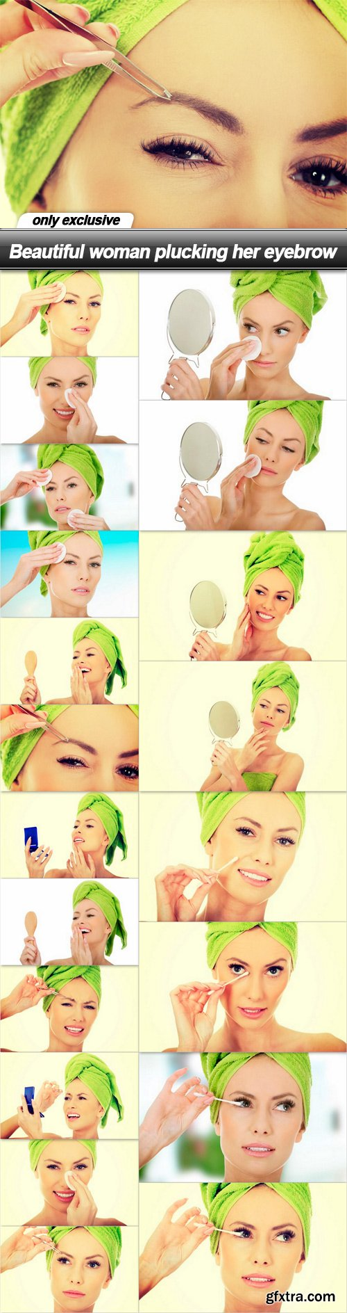 Beautiful woman plucking her eyebrow - 20 UHQ JPEG