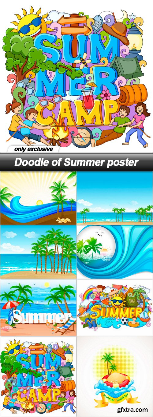 Doodle of Summer poster - 8 EPS