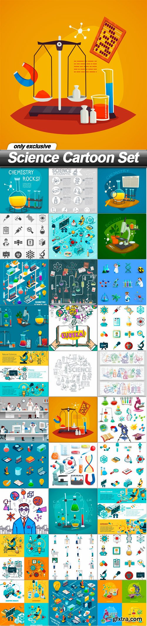 Science Cartoon Set - 30 EPS