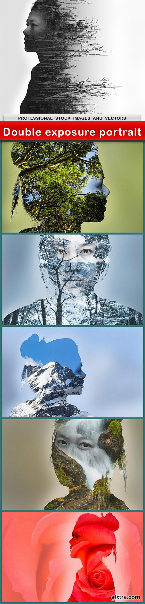 Double exposure portrait - 6 UHQ JPEG