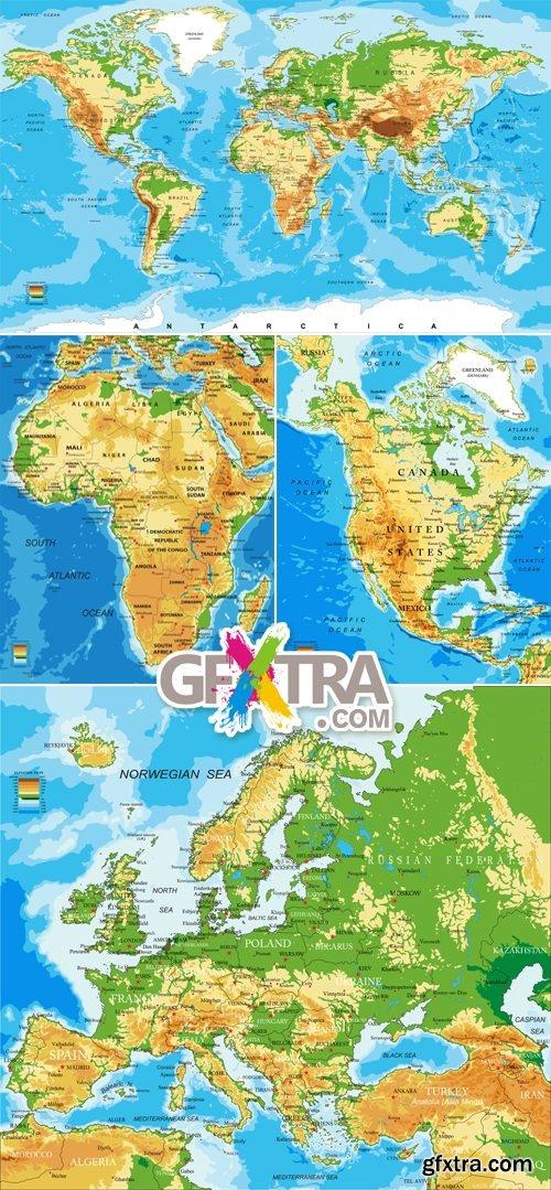 Physical World Maps Vector