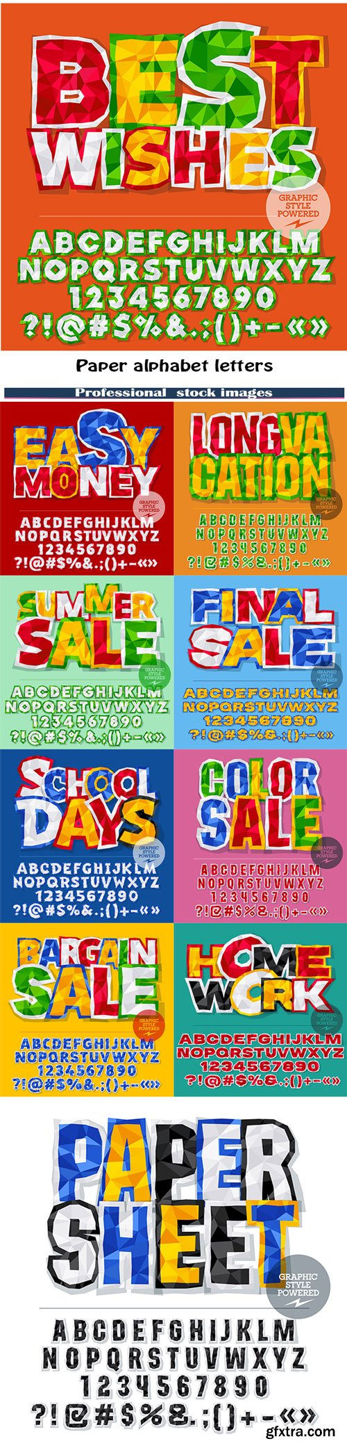Vector colorful crumpled paper alphabet letters, numbers and punctuation symbols