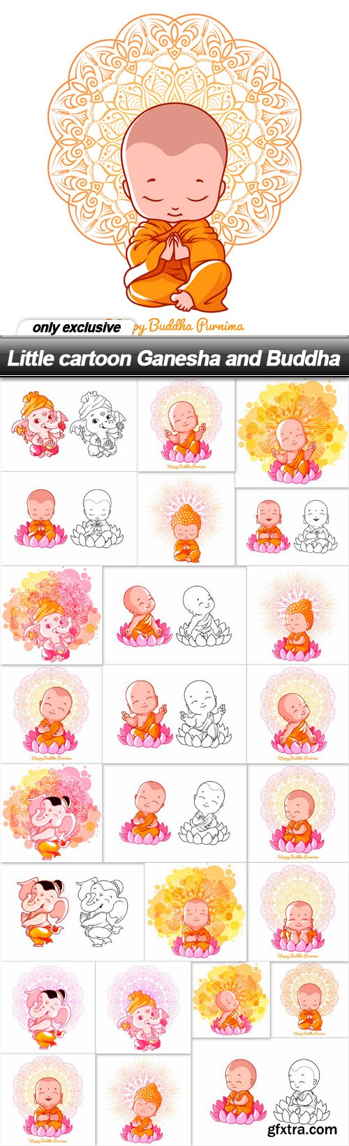 Little cartoon Ganesha and Buddha - 25 EPS