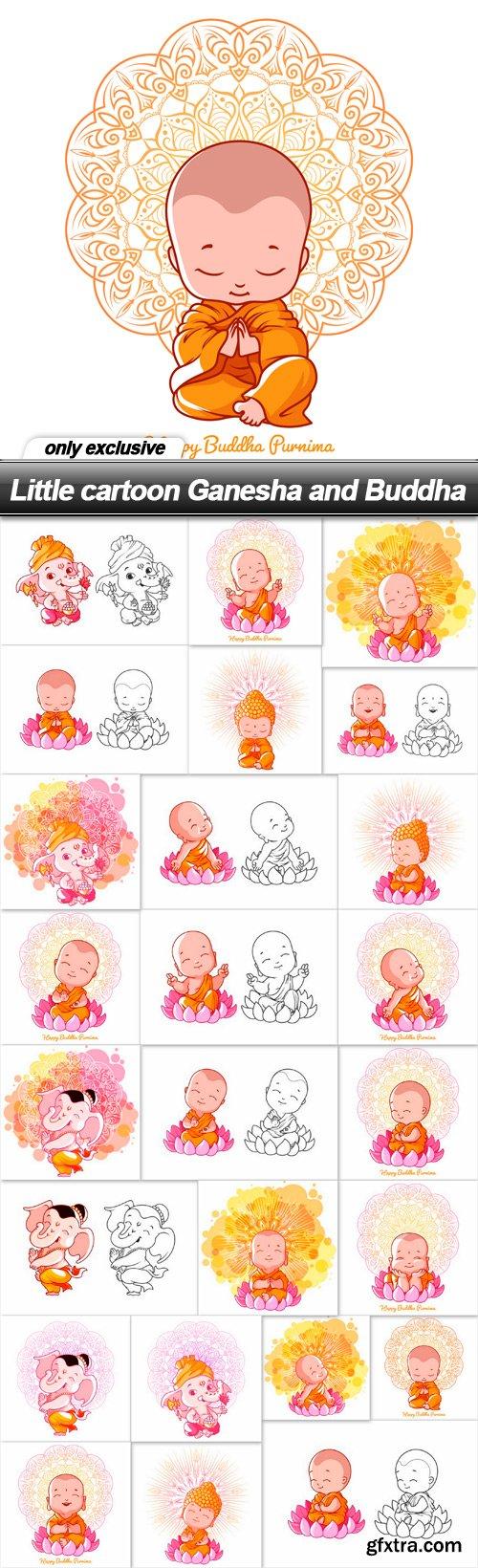 Little cartoon Ganesha and Buddha - 25 EPS