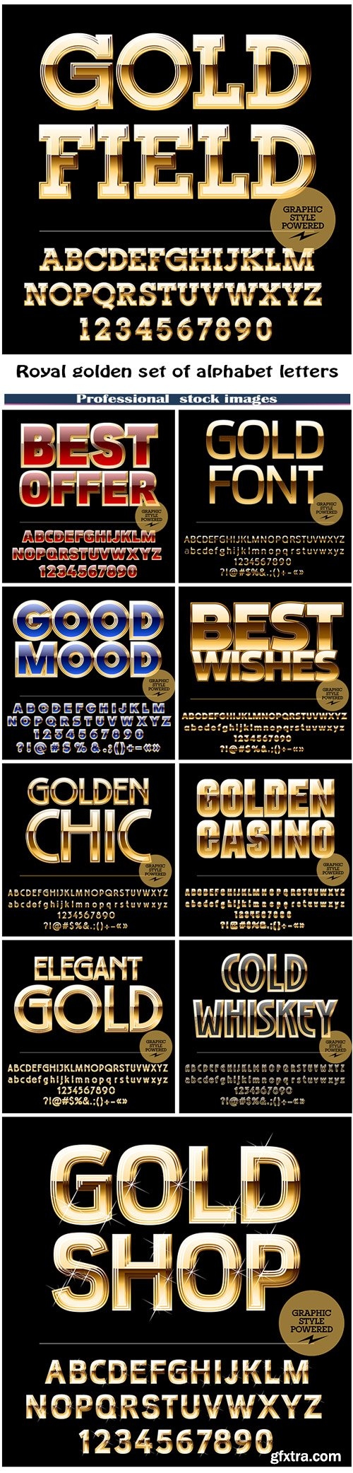 Royal golden set of alphabet letters, numbers and punctuation symbols
