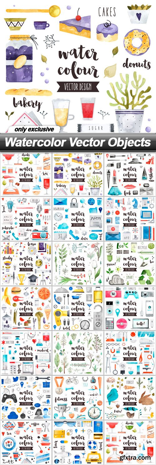 Watercolor Vector Objects - 20 EPS
