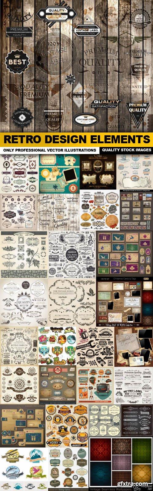 Retro Design Elements - 30 Vector