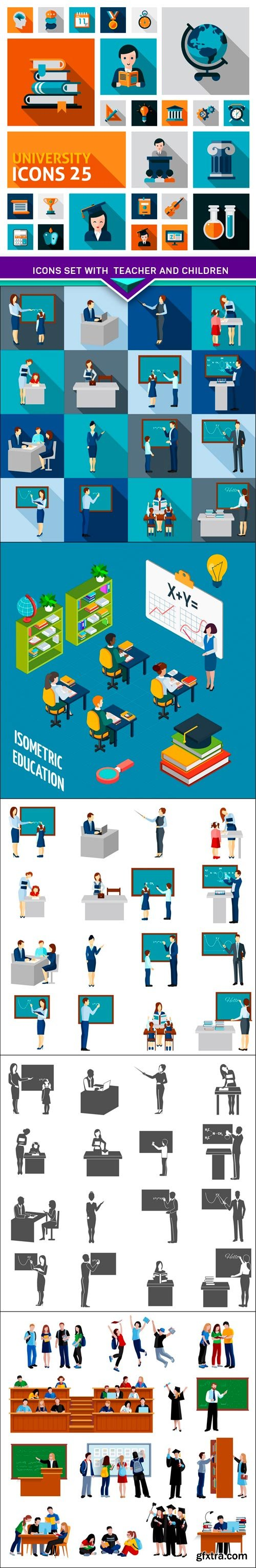 Icons set with teacher and children 6x EPS