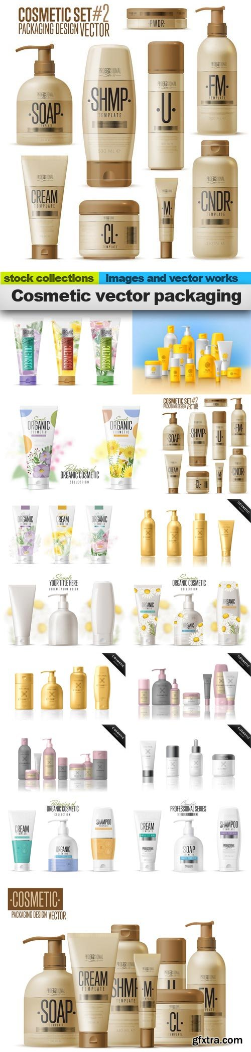 Cosmetic vector packaging, 15 x EPS