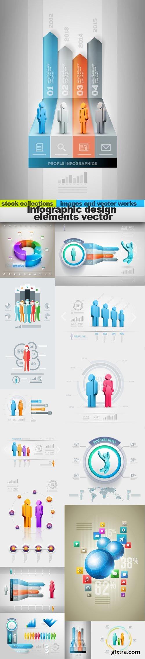 Infographic design elements vector, 15 x EPS