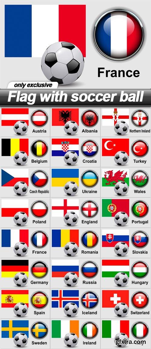 Flag with soccer ball - 24 EPS