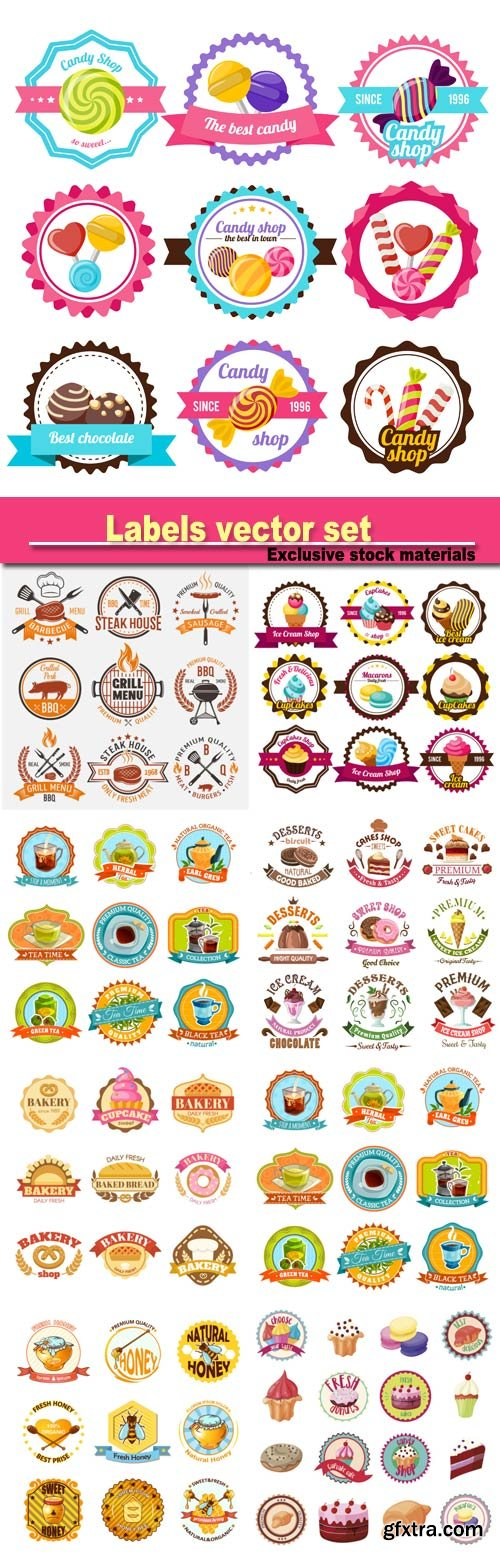 Labels vector, confectionery, beverages, honey
