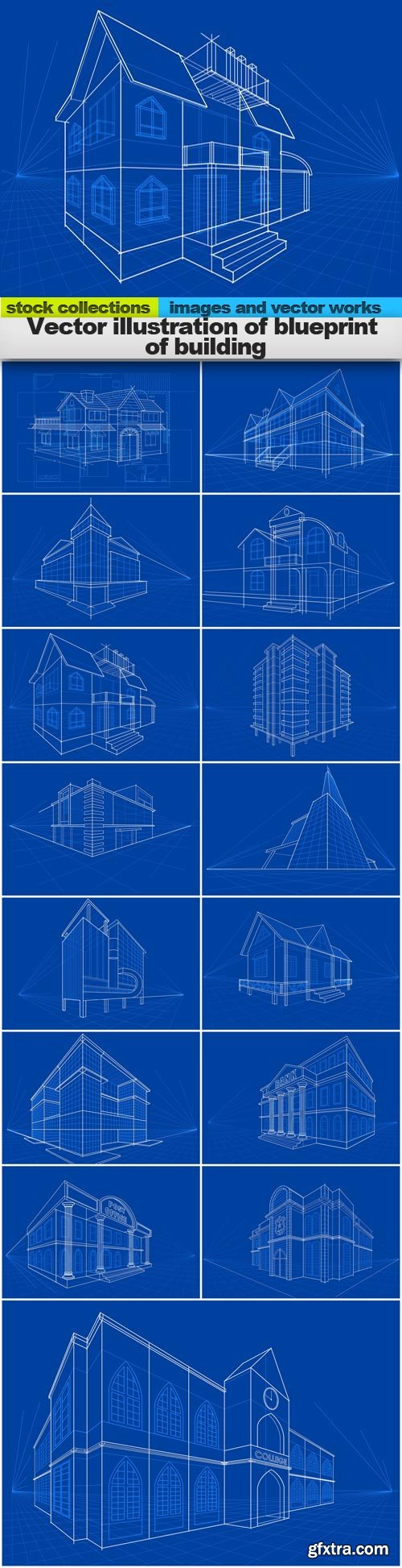 Vector illustration of blueprint of building, 15 x EPS