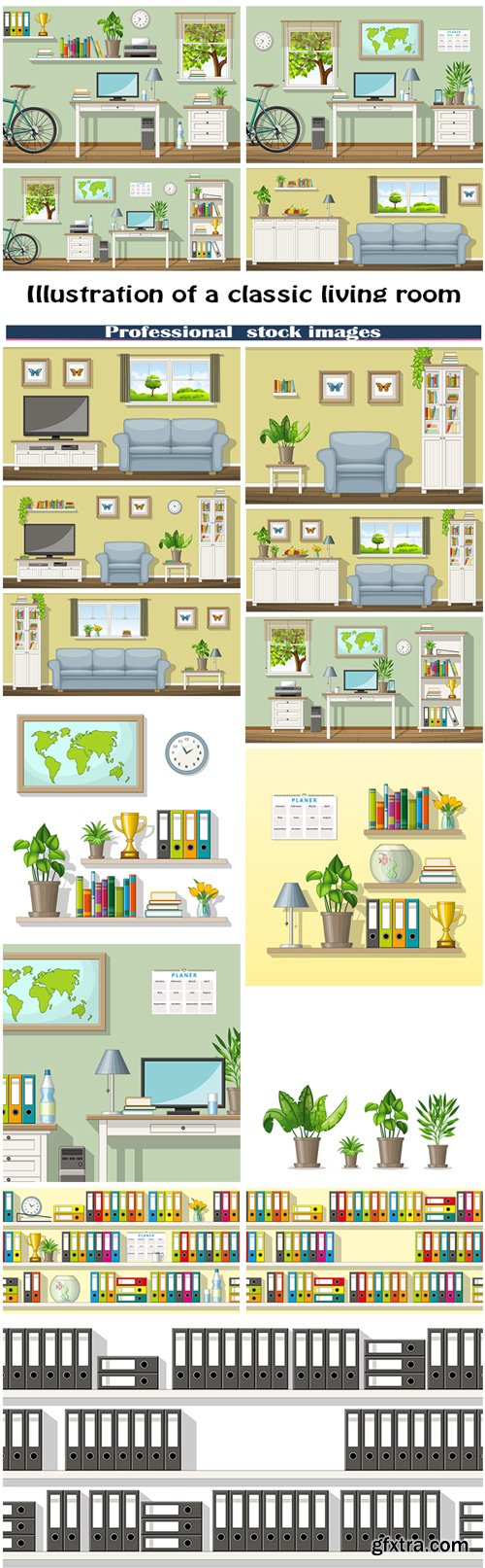 Illustration of a classic living room and folders on shelves