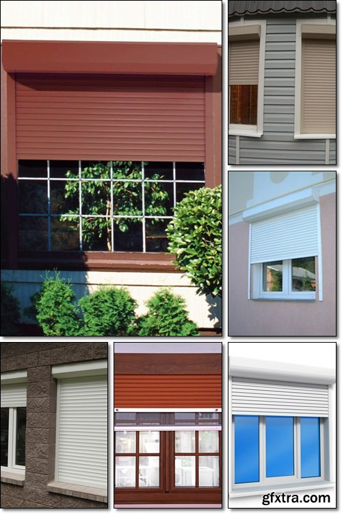 Window roller shutters - Stock photo