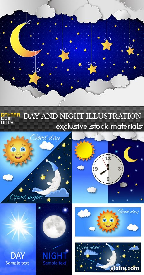 Day and Night Illustration - 5 EPS