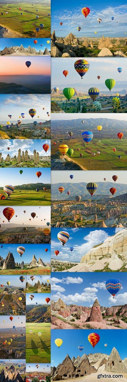 Cappadocia. Colorful hot air balloons flying