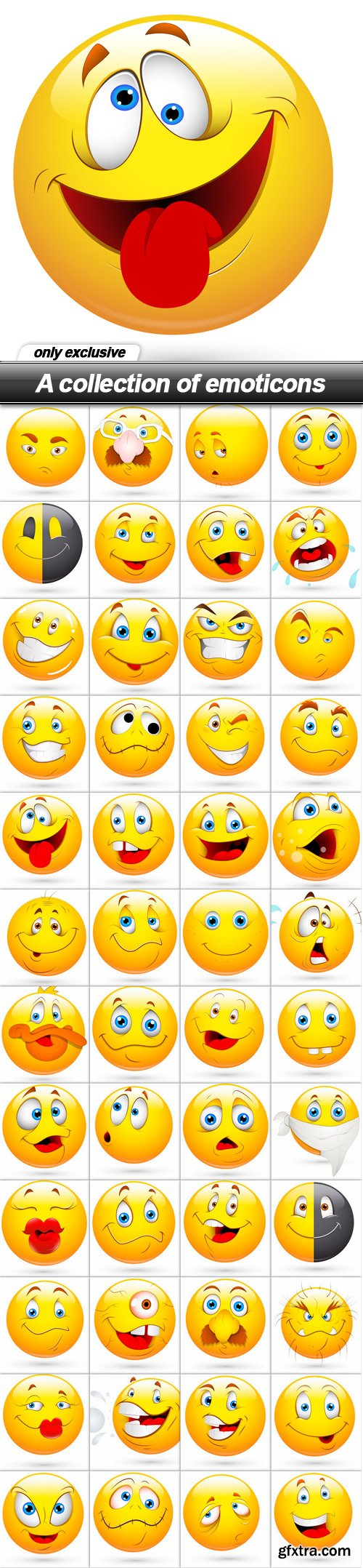 A collection of emoticons - 48 EPS