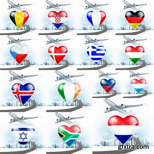 Collection aircraft with the flag of the country tourism travel airbus plane 25 EPS