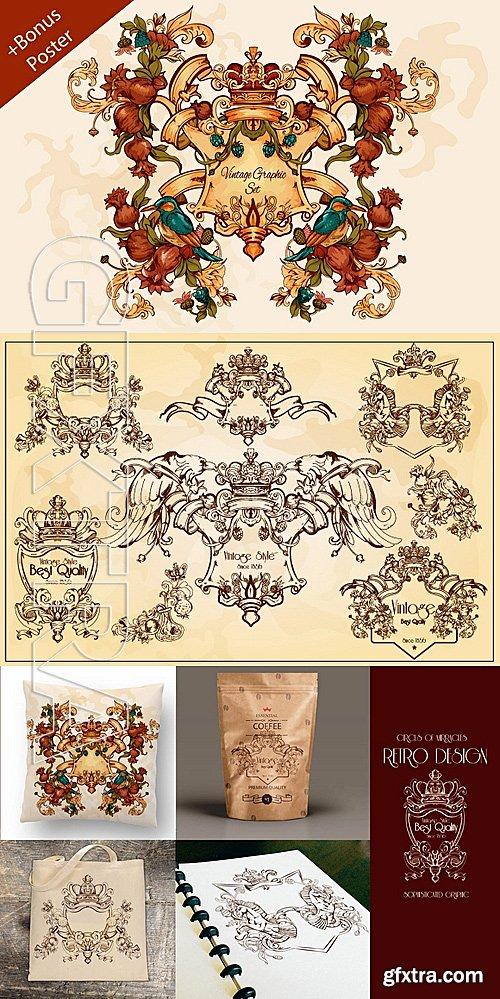 CM - Vintage frames&decorations bundle 729293