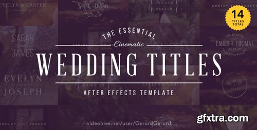 Videohive - The Essential Cinematic Wedding Titles Pack - 15927020