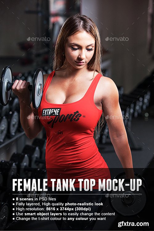 Graphicriver Female Fitness Gym Tank Top T-shirt Mock-up 15554401