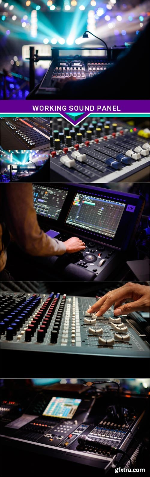 Working sound panel on background of the stage 6x JPEG