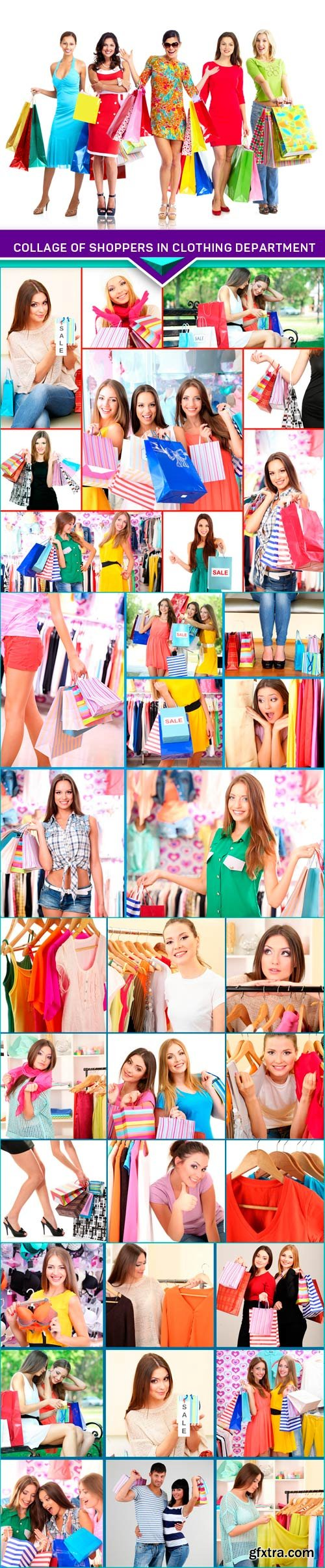 Collage of shoppers in clothing department 5x JPEG