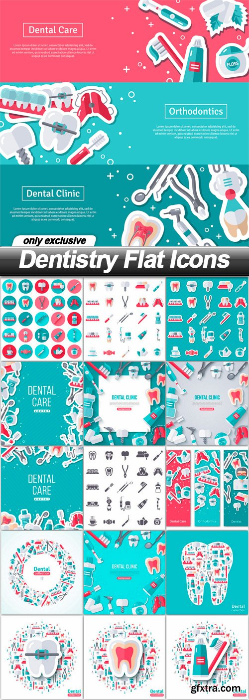 Dentistry Flat Icons - 16 EPS