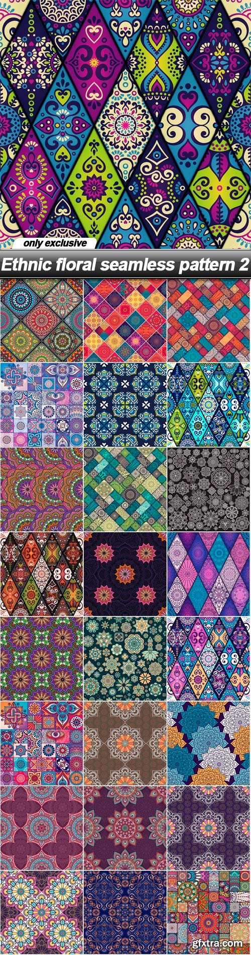 Ethnic floral seamless pattern 2 - 25 EPS