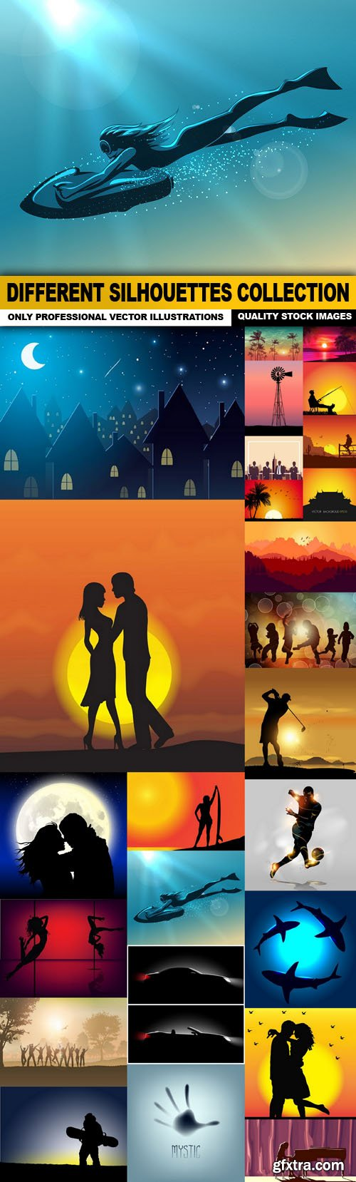 Different Silhouettes Collection - 25 Vector