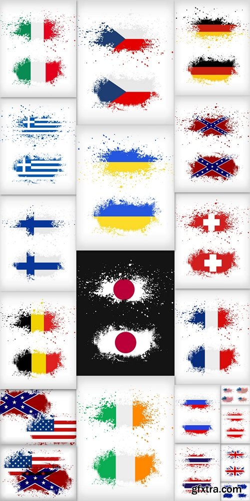 Grunge ink splattered flag vectors