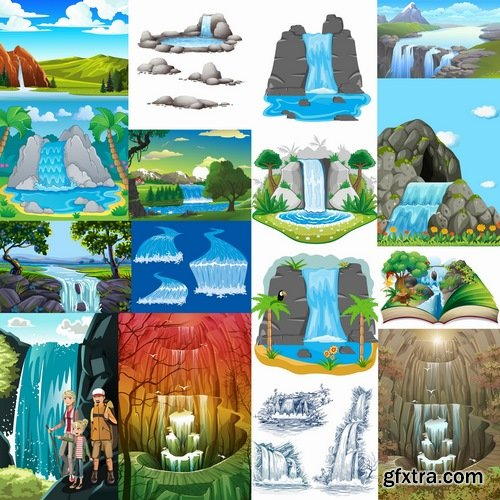 Collection of waterfall river illustration for children's books entertaining picture 25 EPS