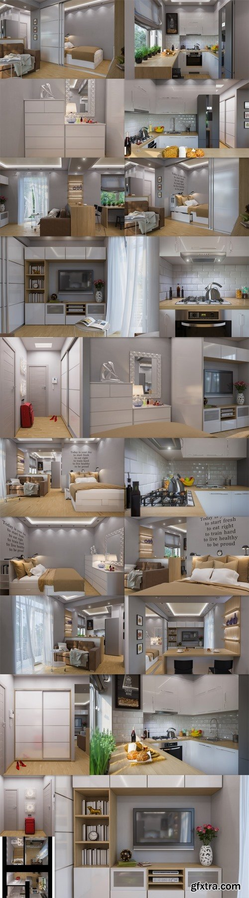 3D rendering living room and bedroom interior design 2 -21