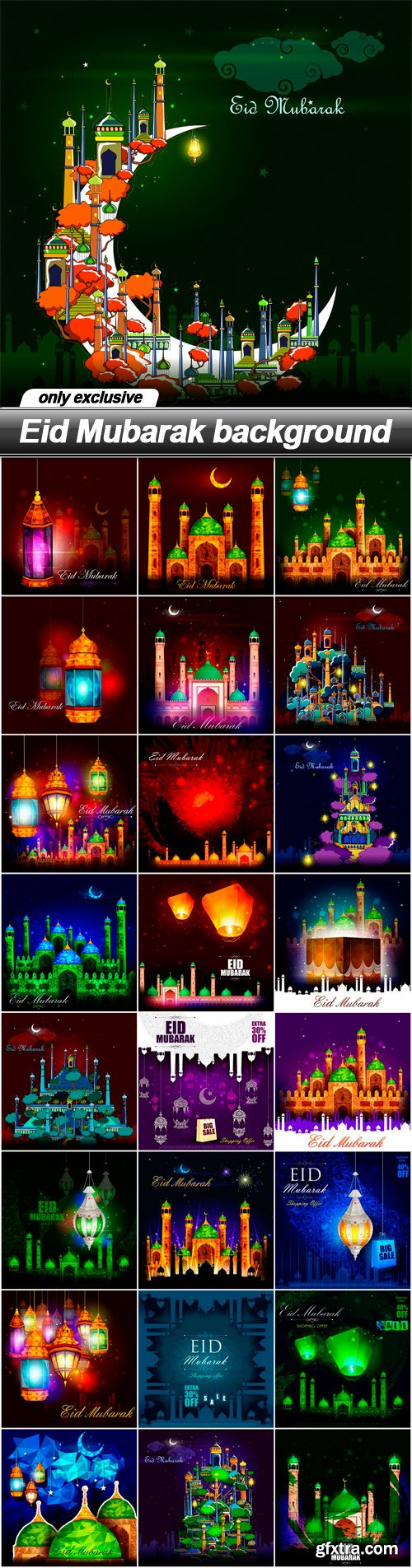 Eid Mubarak background - 25 EPS