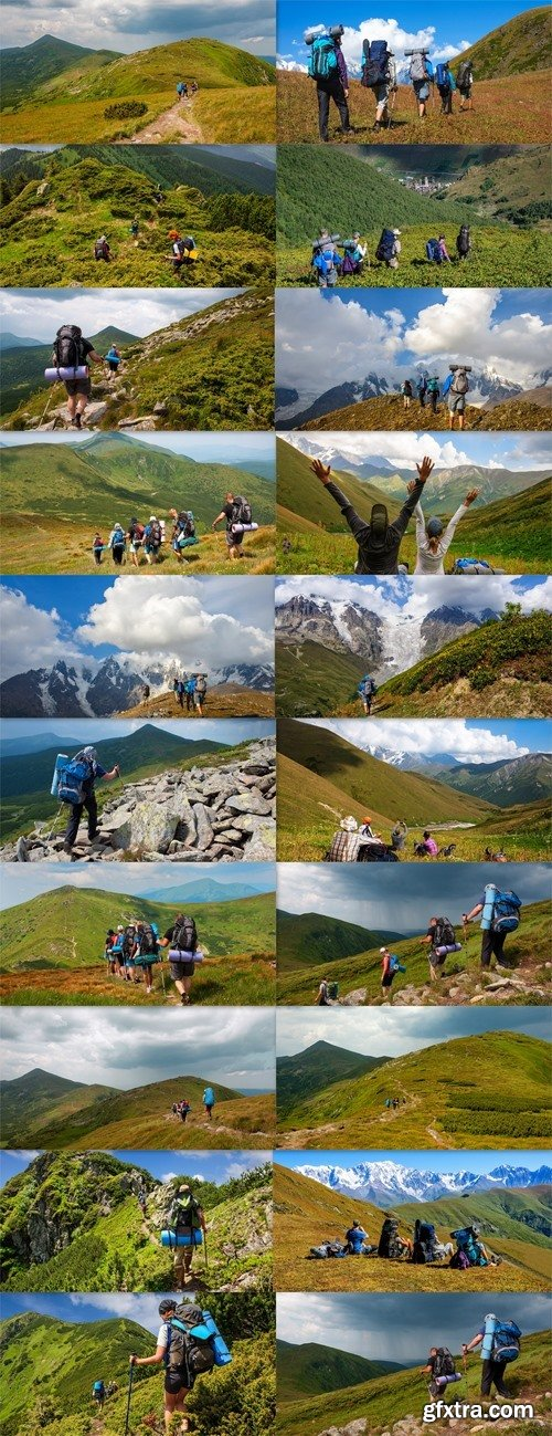 Group of tourists with large backpacks are on Carpaty mountain Ukraine