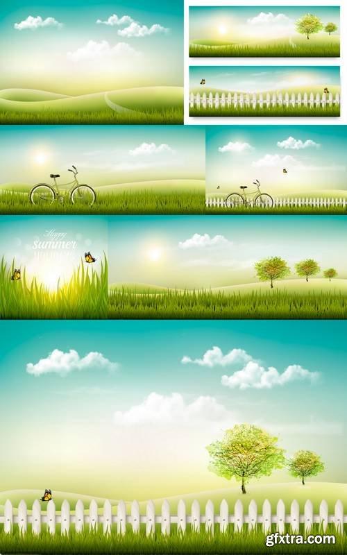 Summer Countryside Landscape Background