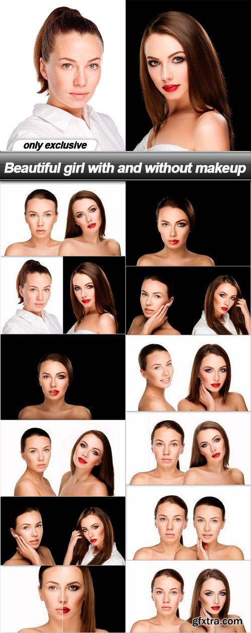 Beautiful girl with and without makeup - 12 UHQ JPEG