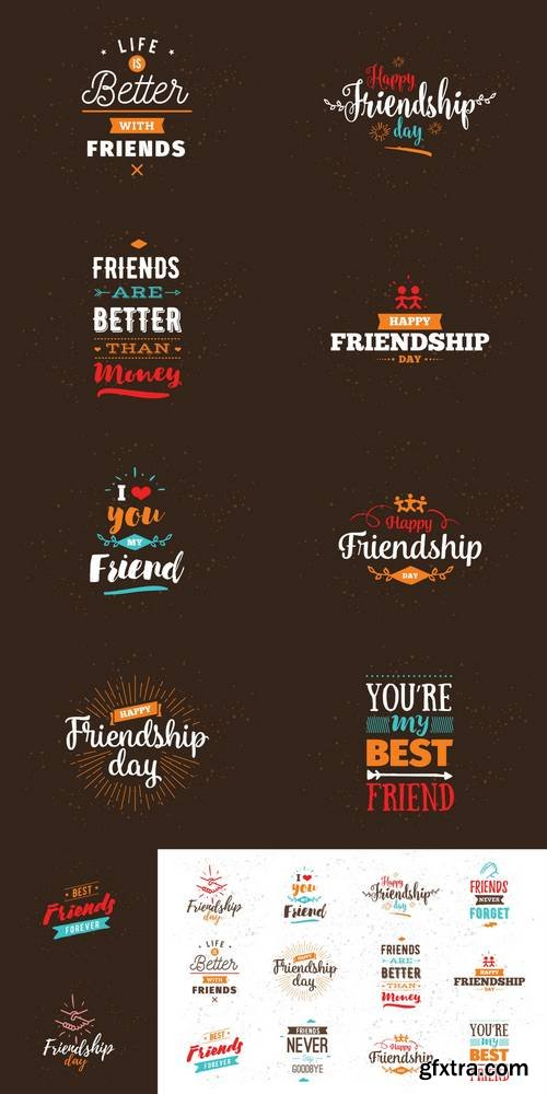 Happy Friendship Day Vector Typographic Design