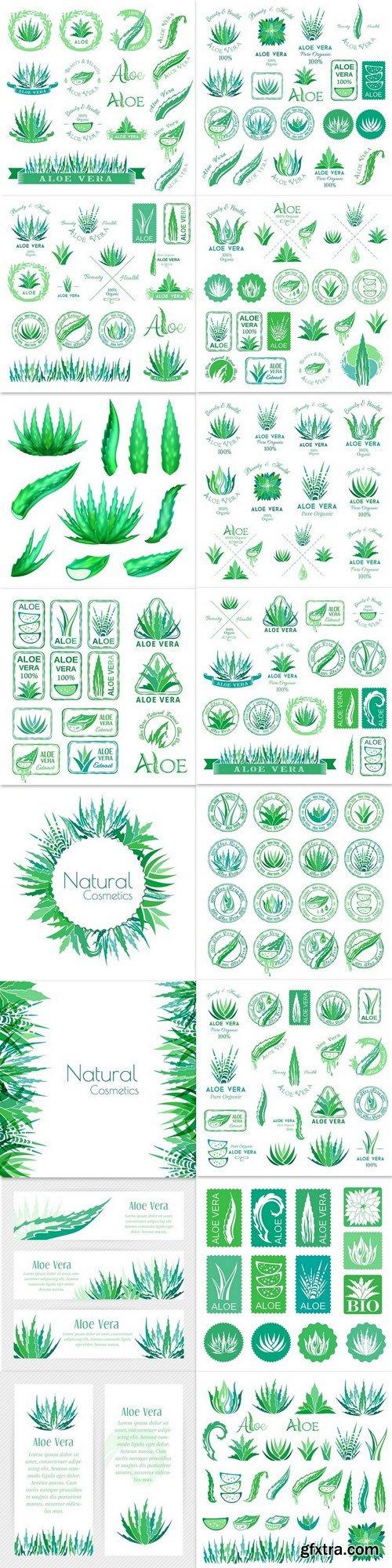 Aloe vera design elements. Logos, badges, icons