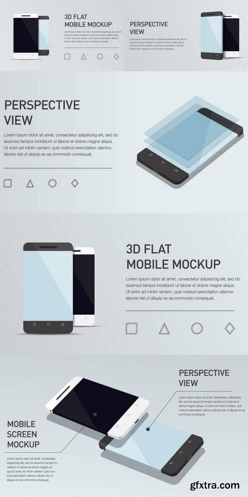 Minimalistic 3D Isometric Illustration Cell Phone
