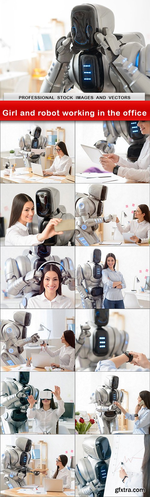 Girl and robot working in the office - 13 UHQ JPEG