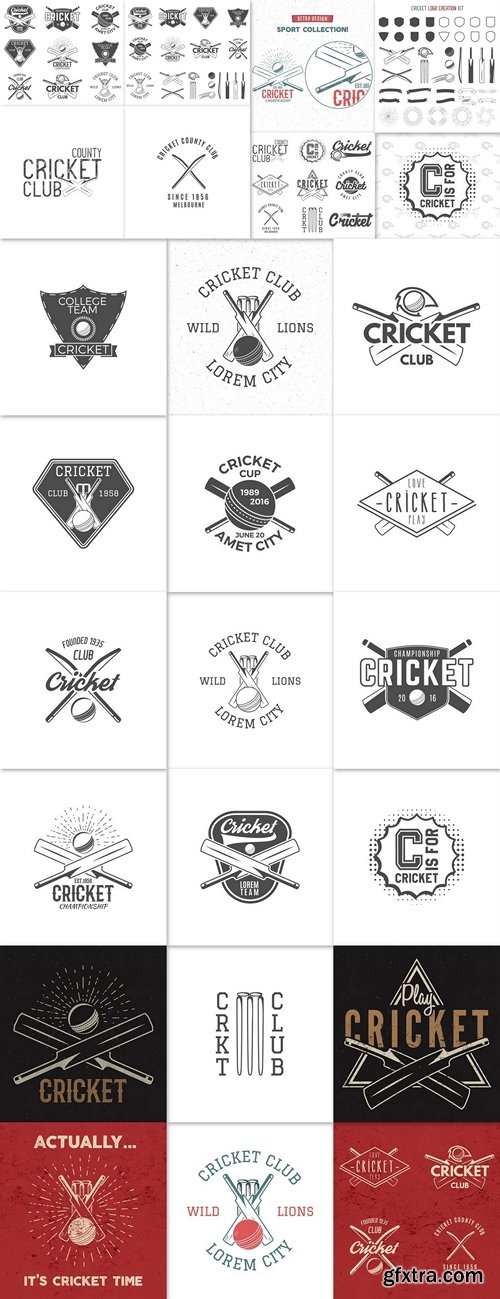 Cricket team emblem and design elements. championship logo . club badge