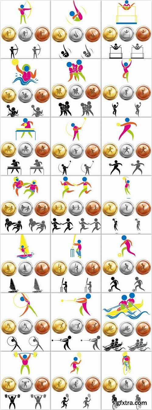 Sport icon and medals - 43 EPS